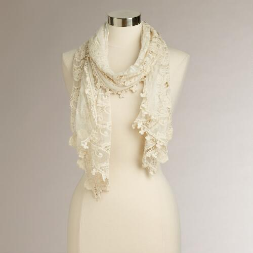 Ivory Crochet  Lace Scarf