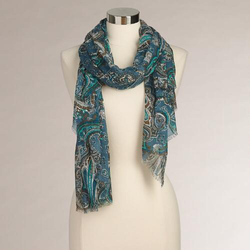 Green and Blue Paisley Scarf