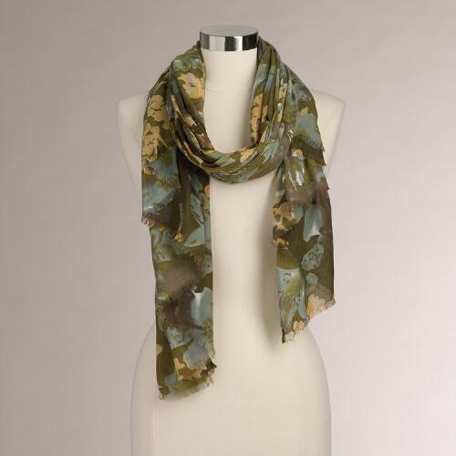 Multicolor Fall Floral Scarf