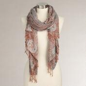 Rust and Mint Jacquard Shawl Scarf