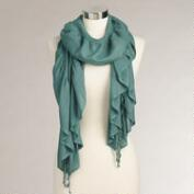 Teal Puckered Silk Scarf