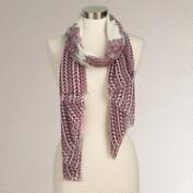 Wine Paisley and Striped Border Scarf