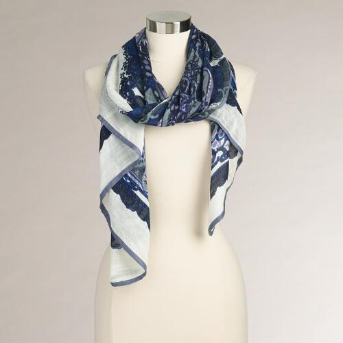 Blue and Purple Paisley Border Scarf