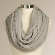 Light Gray Woven Infinity Scarf with Fringe