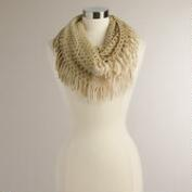 Ivory and Beige Open Weave Infinity Scarf