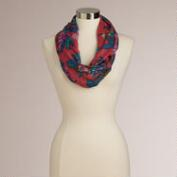 Red and Blue Floral Infinity Scarf