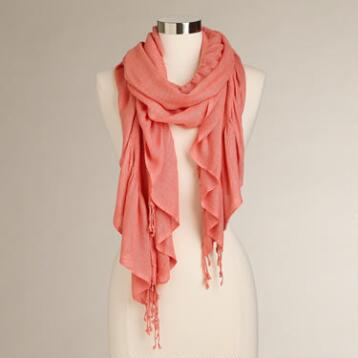 Coral Puckered Scarf