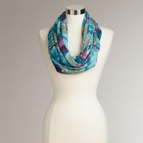 Blue and Rose Floral Infinity Scarf