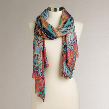Multicolored Mural Scarf with Frayed Edges