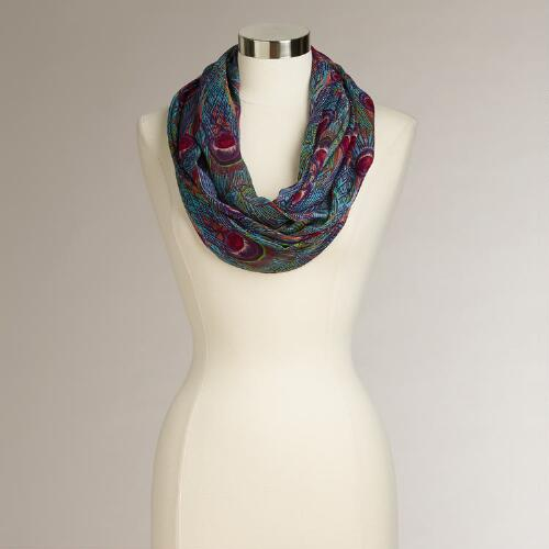 Blue Peacock Infinity Scarf