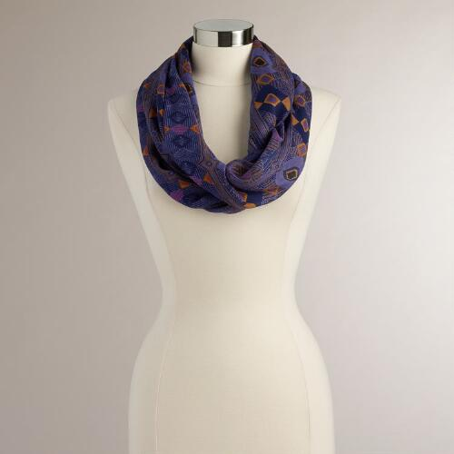 Lavender Geo Panel Infinity Scarf