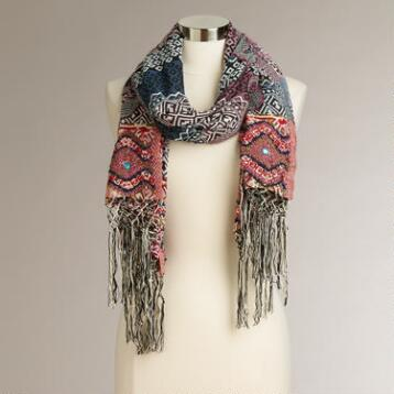 Purple and Indigo Embroidered Scarf with Fringe