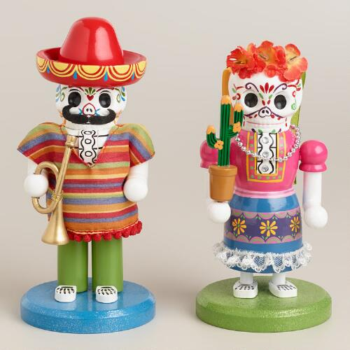 "7"" Wooden Los Muertos Nutcrackers, Set of 2"