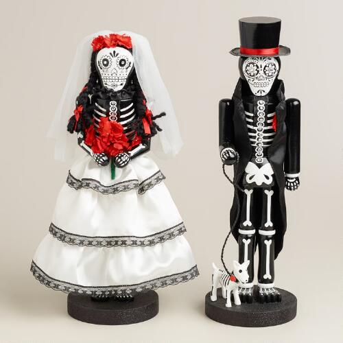 "14"" Wooden Los Muertos Nutcrackers, Set of 2"