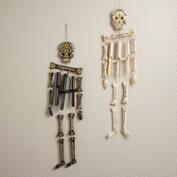 Black and Ivory Wooden Skeleton Wind Chimes, Set of 2