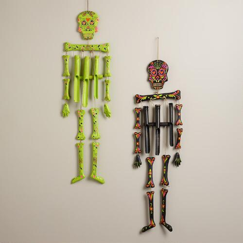 Neon Wooden Skeleton Wind Chimes, Set of 2