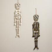 Black and Ivory Wooden Skeleton Wall Decor, Set of 2