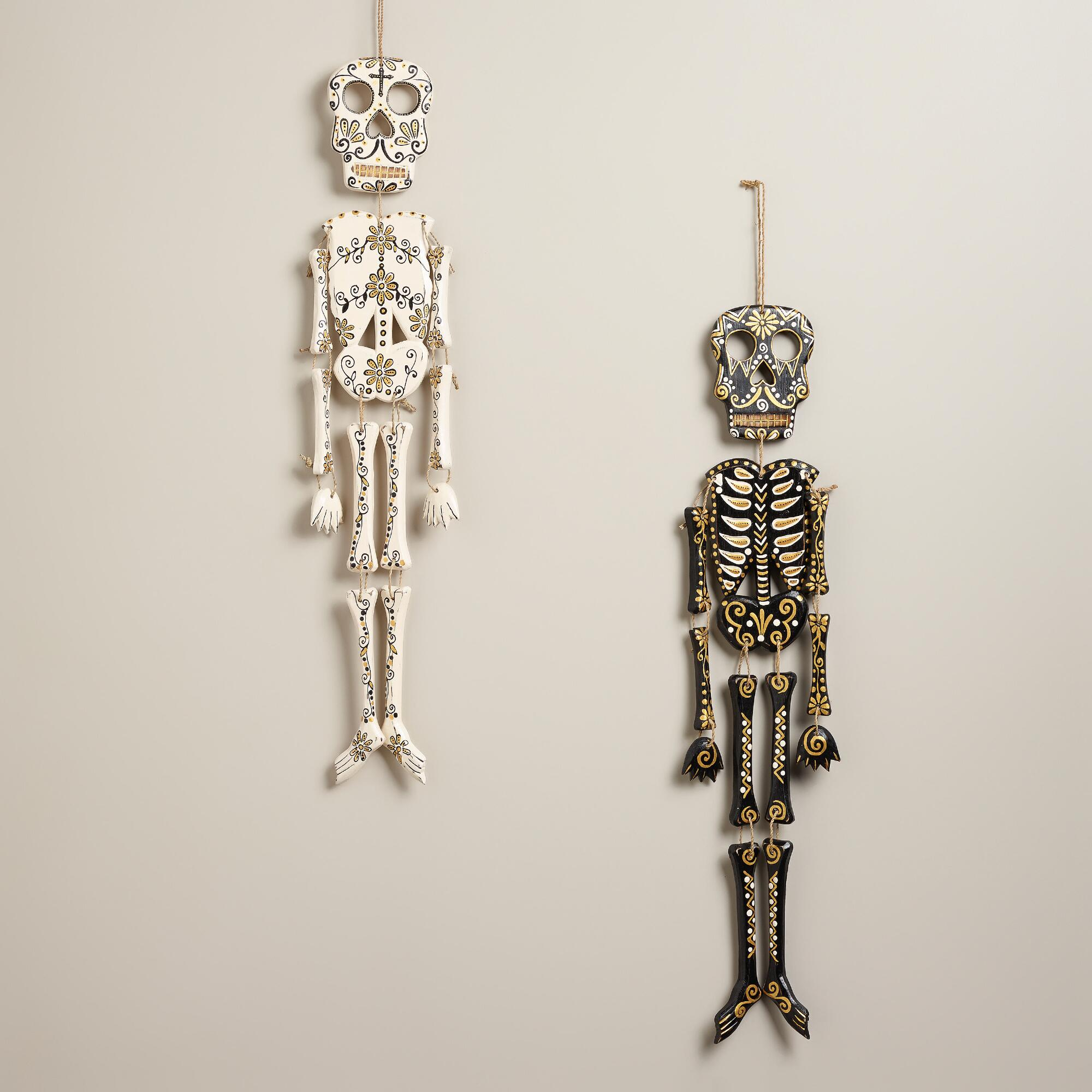 Wall Decor Sets Of 2 : Black and ivory wooden skeleton wall decor set of
