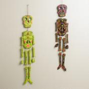 Neon Wooden Skeleton Wall Decor, Set of 2
