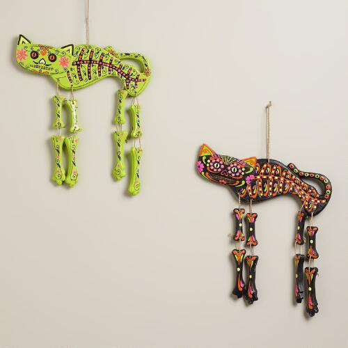 Neon Wooden Cat Skeleton Wall Decor, Set of 2