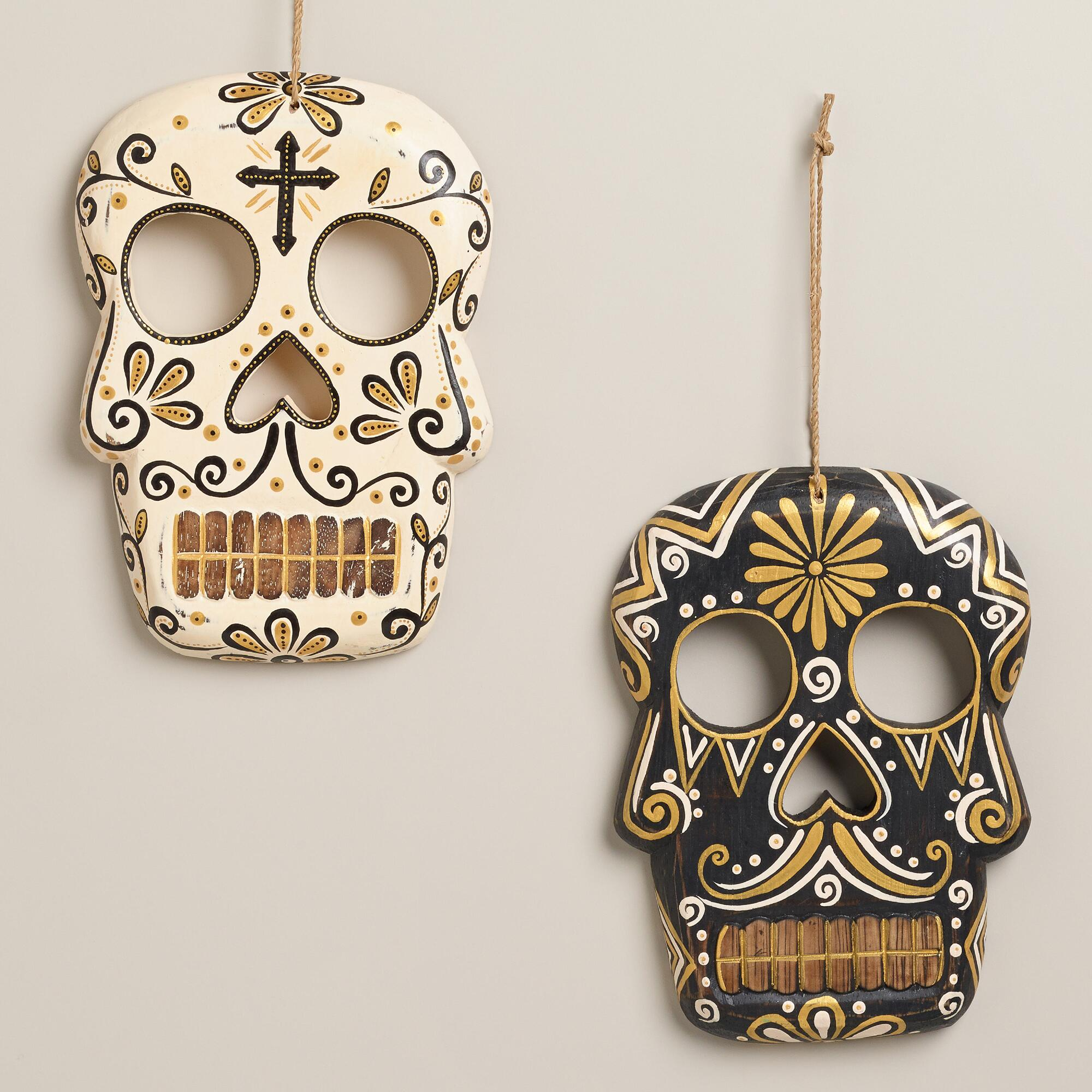Wall Decor Sets Of 2 : Black and ivory wooden skull wall decor set of world