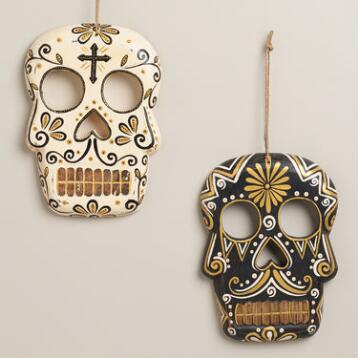 Black and Ivory Wooden Skull Wall Decor, Set of 2