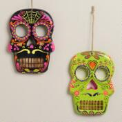 Neon Wooden Skull Wall Decor, Set of 2