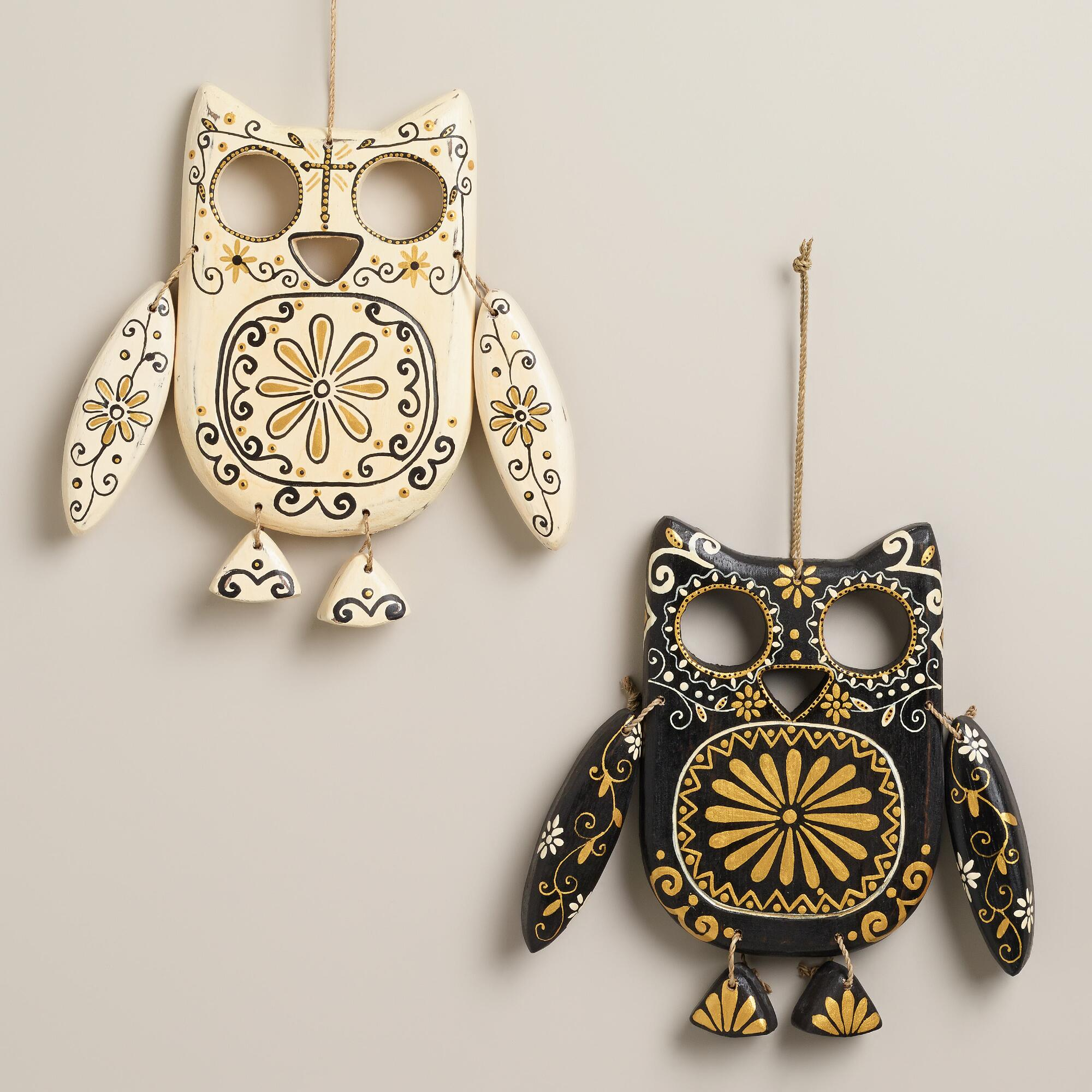 Black and ivory wooden owl wall decor set of 2 world market for World market wall decor
