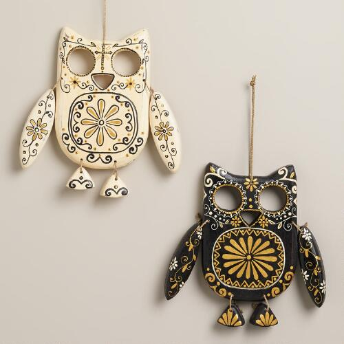 Black and Ivory Wooden Owl Wall Decor, Set of 2