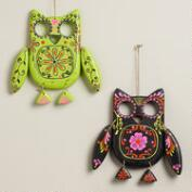 Neon Wooden Owl Wall Decor