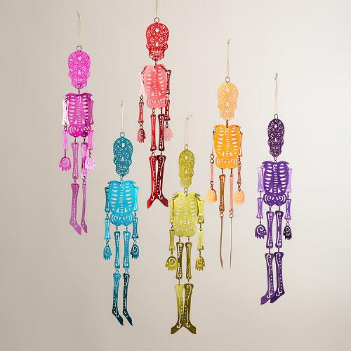 Dangling Metallic Los Muertos Skeletons, Set of 6