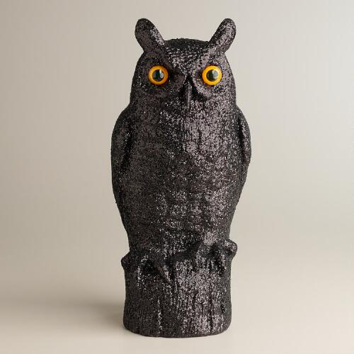 Black Glittered Owl