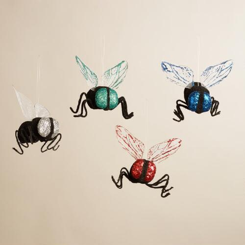 Glittered Flies, Set of 4