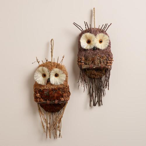 Natural Fiber Feather Owl Wall Decor, Set of 2