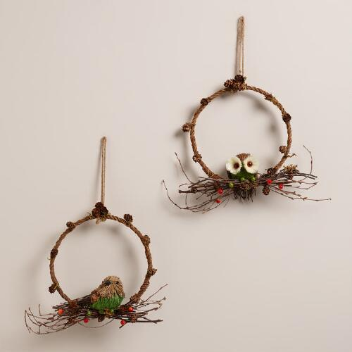 Bird and Owl Wreaths,  Set of 2
