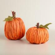Cornhusk Pumpkins, Set of 2