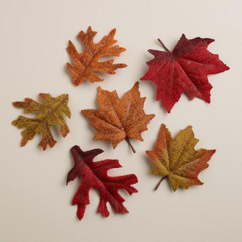 Maple and Oak Burlap Leaf Scatters, Set of 2
