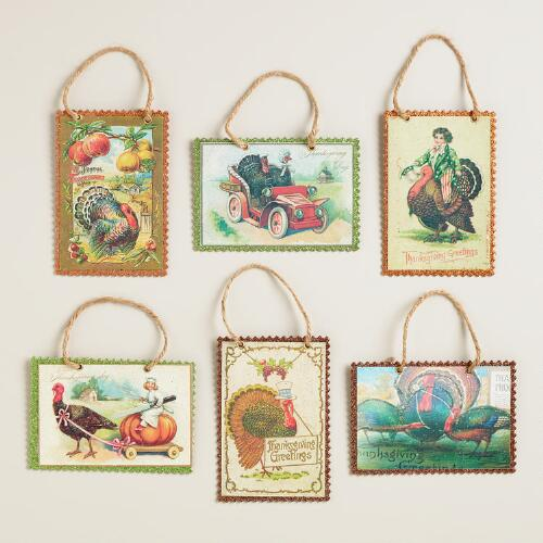 Harvest Vintage Reproduction Postcard Ornaments