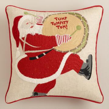 Drumming Santa Embroidered Throw Pillow