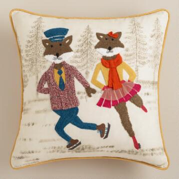 Ice Skating Foxes Embroidered Throw Pillow