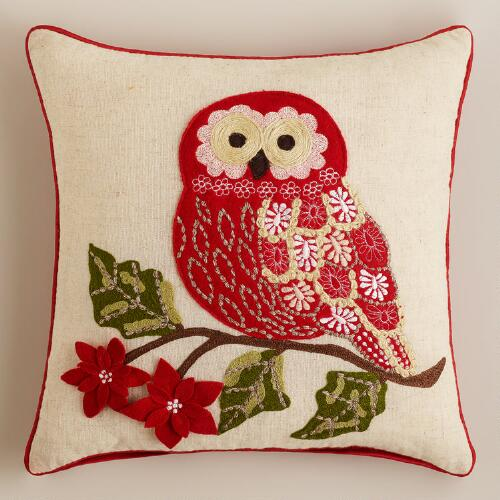 Holiday Owl Embroidered Throw Pillow