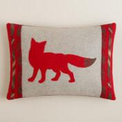 Fox Boiled Wool Lumbar Pillow