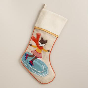 Ice Skating Fox Stocking