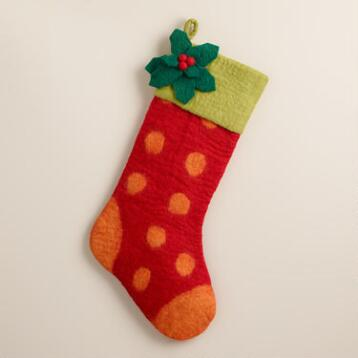 Holly Leaf Felted Wool Stocking