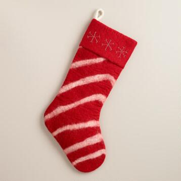 Red Stripe Felted Wool Stocking