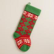 Argyle Snowflakes Knit Stocking