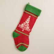 Heart Tree Knit Stocking