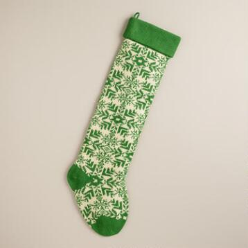 Green Snowflakes Oversized Knit Stocking
