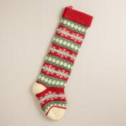 Red Snowflakes Oversized Knit Stocking