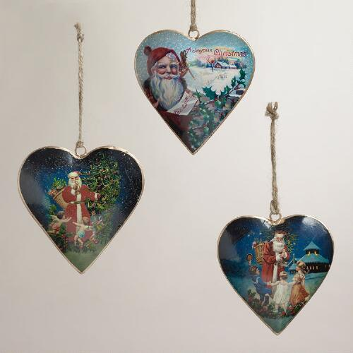 Vintage Reproduction Santa Heart Ornaments, Set of 3